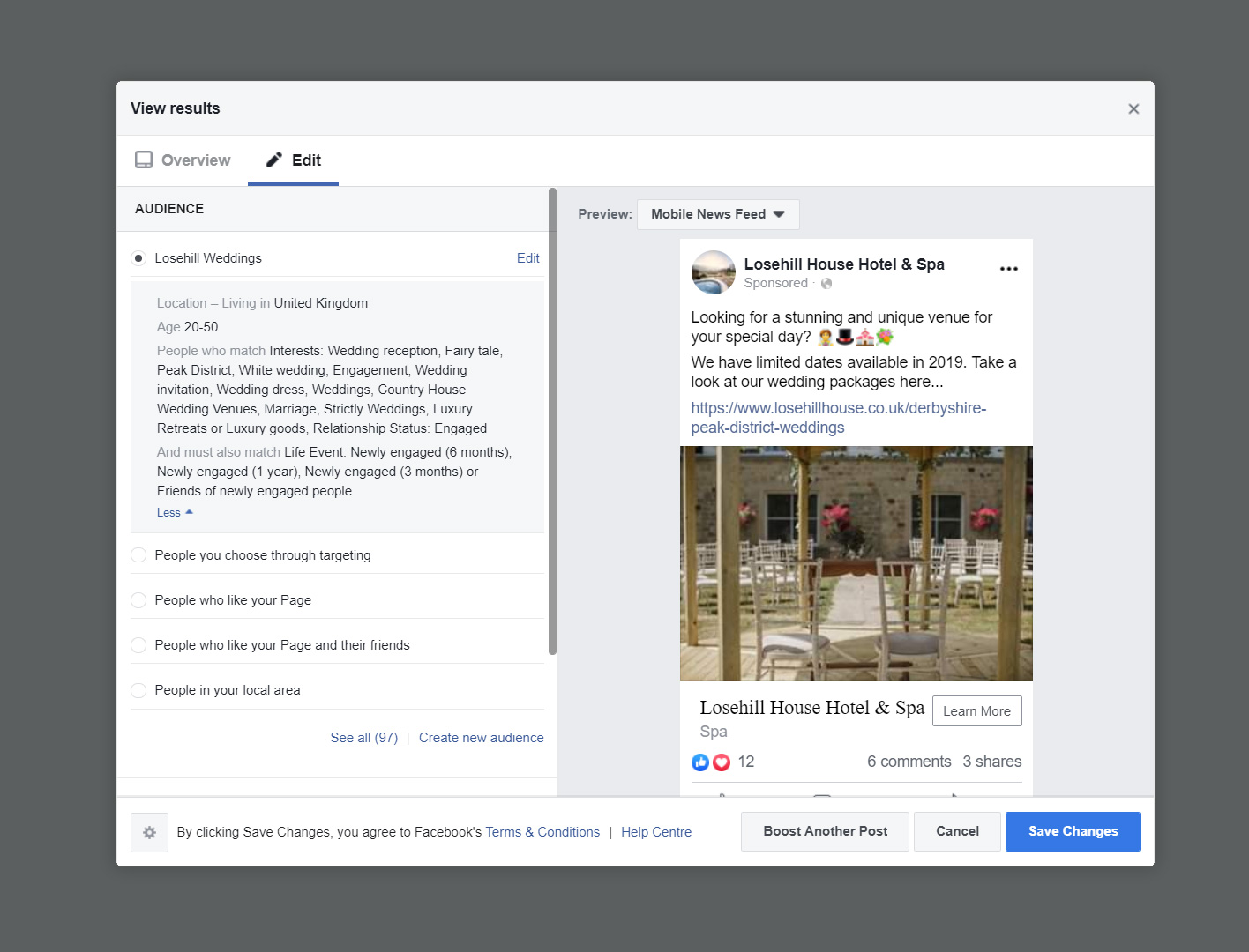 Facebook audience targetting example for a hotel & spa