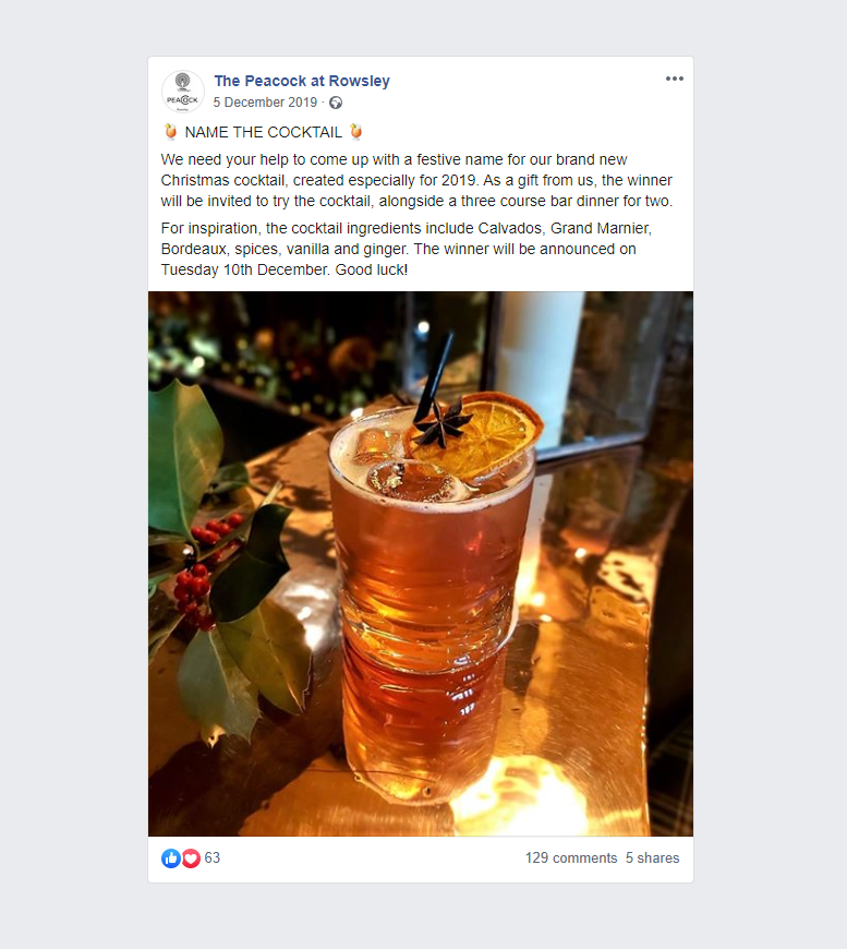 The Peacock at Rowsley's Cocktail Competition